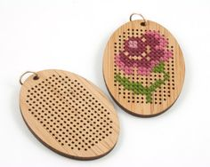 DIY Cross Stitch Necklace Kit Bamboo with by RedGateStitchery Diy Embroidery Patterns, Folk Embroidery, Paper Embroidery, Cross Stitch Embroidery, Cross Stitch Needles, Cross Stitch Rose, Wood Burning Stencils, Flower Arrangement Designs, Wood Crosses