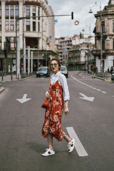 It Is Possible To Beat The Heat In Sneakers - The Perfect Chic Cool Summer Spring Outfit For Fashion Week Bright Red Floral Print Strappy Cami Slip Dress With Bright White And Red Embroidered Sneakers Tumblr
