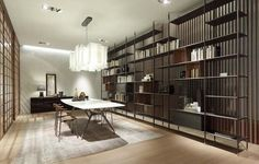 Rimadesio bookcase WIND in brown aluminium finishing, back panels in reflecting grey glass - € 0,00