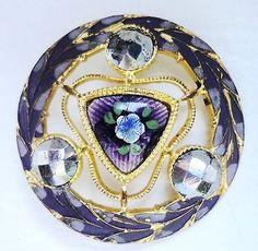 Antique Pierced Enamel Button with Cut Steel Accents - Purples