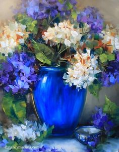 Artists Of Texas Contemporary Paintings and Art: New Day Blue Hydrangeas - Flower Paintings by Nancy Medina