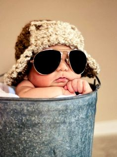 Infant baby boy with aviator sunglasses and cap ✈ Toni Kami~•❤• Bébé •❤•~ Cute photography