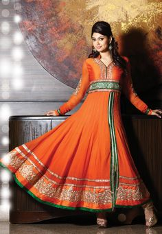 #Orange Faux Georgette #Anarkali Churidar Kameez