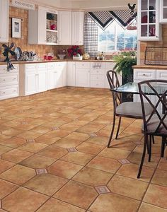 Kitchen with terra cotta floor tiles | 1357 Forsythe Ave Kitchen ...