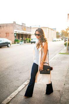 haute off the rack, sleeveless trench coat, Henri Bendel Mini Uptown Satchel, felt hat, sleeveless outerwear, street style, fall outfit, women's fashion, flare jeans, wide leg jeans,