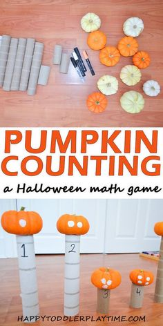 Pumpkin Counting - HAPPY TODDLER PLAYTIME Pumpkin Counting is a fun and easy numeracy activity for Halloween. Let your toddler or preschooler practice counting using mini pumpkins! Halloween Math, Toddler Halloween, Halloween Activities, Halloween Crafts, Halloween Stuff, Toddler Preschool, Toddler Crafts, Toddler Activities, Crafts For Kids