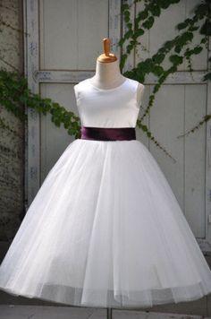 G180 Ivory Flower girl dresses Purple Sash Girl Dress