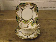 LOVELY ANTIQUE FENTON JUNE PATTERN TRIO - CUP, SAUCER & SIDE PLATE