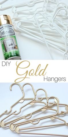 Turn your boring plastic hangers into something spectacular. Use this easy DIY gold plastic hangers tutorial plus these tips for great spray paint coverage. Spray Paint Projects, Diy Spray Paint, Spray Paint Plastic, Metallic Spray Paint, White Spray Paint, Pot Mason Diy, Mason Jar Crafts, Gold Diy, Craft Ideas