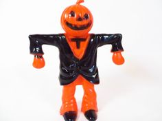 Vintage Rosbro Plastic Halloween Toy Candy Holder - Pumpkin Scarecrow Candy Container