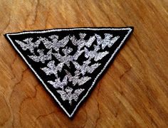 Bird Flock Embroidered Vintage Graphic White Black Canvas Jacket Patch by Authenticembroidery on Etsy