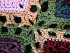 """Use this joining method to put together an afghan with the 12"""" squares of your choice! Just use the same hook size and yarn weight that you made the squares with"""