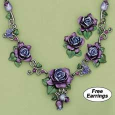 Cabernet Rose Ensemble with Amethyst Crystals!    Earring and necklace jewelry set.