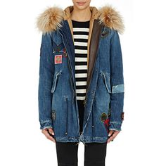 Mr and Mrs Italy Women's Denim Fur-Trimmed Parka ($2,950) ❤ liked on Polyvore featuring outerwear, coats, colorless, hooded leather coat, blue leather coat, blue parka, leather parka and colorful coat