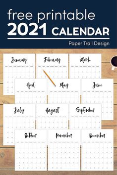 Calendars to print for 2021 to help you stay organized at home, in the office or while at school. #papertraildesign #2021freeprintablecalendar #2021printablecalendarpages #planner #2021planner #2021plannerpages Free Printable Calendar Templates, Printable Banner, Free Printables, 2015 Planner, Planner Pages, Blog Planner, Day Designer Planner, School Planner, Print Calendar
