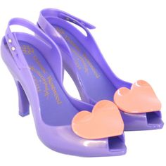 Vivienne Westwood Footwear Lilac Lady Dragon With Heart 30528 ($105) ❤ liked on Polyvore featuring shoes, heels, vivienne westwood shoes, lilac shoes, vivienne westwood and heart shoes