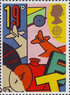 Europa. Games and Toys 19p Stamp (1989) Toy Train and Airplane