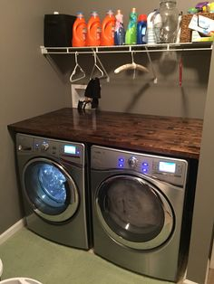 Just finished installing our new Whirlpool Front load washer and dryer with a beautiful hand stained butcher block counter top!
