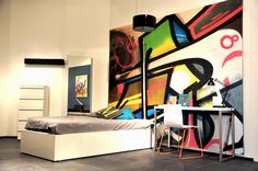 Colorful Graffiti - Wall mural, Wallpaper, Photowall, Home decor, Fototapet, Valokuvatapetit