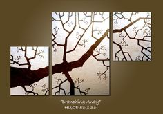 """Branching Away""  (Modern Fine Art Heavy Textured, HUGE 56 x 36, $365.00, via Etsy)  great for a high sloping ceiling!"