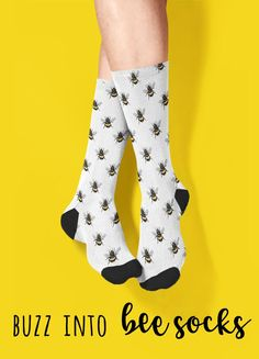 Bee Socks | These high quality socks with sublimated bumblebee print provide optimum comfort with style wherever you go. The tiny bees on a white background can be a cute and quirky touch to your outfit. Funny Socks For Men, Tube Socks, Crazy Socks, Novelty Socks, Large Women, Handcrafted Gifts, Slacks, Body Makeup, Makeup Style
