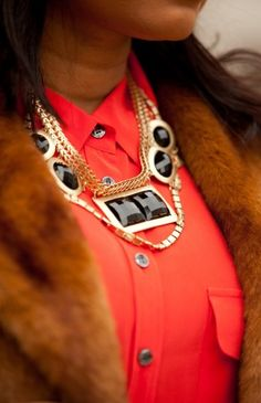 bold tangerine button up + statement necklace