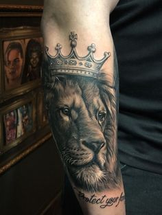 Lion and Crown tattoo by Stefan. Limited availability at Salvation Tattoo Studios.