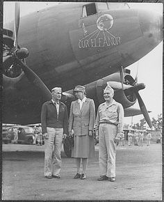 09/15/1943 Eleanor Roosevelt, General Harmon, and Admiral Halsey in New Caledonia ♥❃❋✽✾❀❃ ♥  http://en.wikipedia.org/wiki/Eleanor_Roosevelt  http://www.fdrlibrary.marist.edu/education/resources/bio_er.html    http://en.wikipedia.org/wiki/William_Halsey,_Jr.