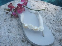 Beach Wedding Flower flip flops Boho Bridal Flip Flops Handmade tropical Flowers Pearls Diamonds wedge Flip Flops Wedding Flip Flops