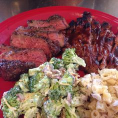 Sunday Dinner: Grilled Top Sirloin Steak, BBQ Pork Steak, Homemade Tuna Macaroni and Broccoli Salads.
