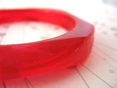 Faceted red resin bangle bracelet jewelry  diamond by TopazTurtle, $40.00