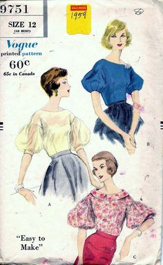 Vintage Pattern Emporium - Vintage 50s Vogue Evening Blouse Sewing Pattern 9751 B32 Size 12, $19.95 (http://www.vintagepatternemporium.com/vintage-50s-vogue-evening-blouse-sewing-pattern-9751-b32-size-12/)