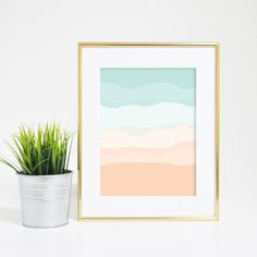Nursery, home or office - this print will brighten up anywhere in a matter of second! The minimalist abstract design features mint and peach coloring.
