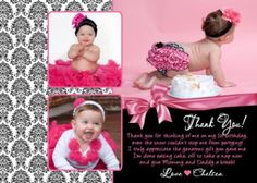 Girl Damask Boutique 1st 2nd 3rd Birthday Party Invitations Thank You Cards x2 | eBay