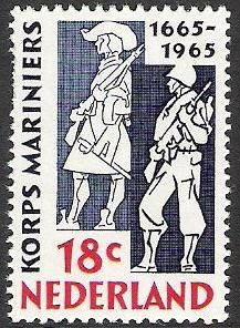 Dutch postage stamp on the Marines, 300 years 1665-1965.