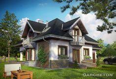 Projekt domu Hektor to tradycyjny dom z nowoczesnymi detalami, z gabinetem na parterze.