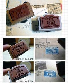 2Pcs Wooden Rubber Stamp - Vintage Style - Camera Stamp. $5.90, via Etsy.