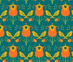 Old World Birds fabric by royalforest on Spoonflower - custom fabric