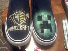Custom painted Minecraft shoes Custom Painted Shoes, Hand Painted Shoes, Custom Shoes, Minecraft Shoes, Painting Minecraft, Hair Product Storage, Decorated Shoes, Diy Fashion, Fashion Tips
