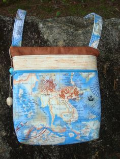 Blue and Tan Map Cross Body Bag Purse by Jackiesewingstudio