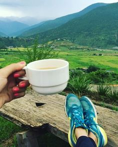 """""""✨Coffee with a view from the hotel where we make our guests stay in Punakha.It is overlooking the beautiful valley and Chimilakhang Temple🇧🇹✨ #green #coffeewithaview #latergram #likeforlike #instafollow #followback #tbt #sneakershout #sneakersofinstagram #punakha #lobesa #chimilakhang #greenery #nature #clouds #mountains #travelbhutan #travelasia #buddhism #bhutanisthehappiestplaceonearth #bhutantours #bhutan_ig #bhutantravel #bhutanphotography #eatsleeptravelrepeat…"""