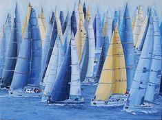 Tomando posiciones. Línea de salida – Belén Eizaguirre Alvear Sailing Ships, Boat, Sports, Tanks, Oil On Canvas, Canvases, Boats, Hs Sports, Dinghy