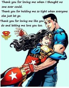 Superman and wonder woman love. ❣Julianne McPeters❣ no pin limits Superman Quotes, Superman Love, Superman Wonder Woman, Thank You For Loving Me, Love Me Like, Bruce Timm, Justice League, Wonder Woman Quotes, Man Of Steel