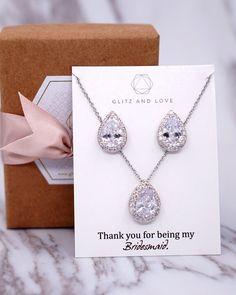 Silver Cubic Zirconia Teardrop Set, Brides, Bridal jewelry, Earrings, Necklace, Bracelet, Bridesmaid Gifts, wedding, www.glitzandlove.com