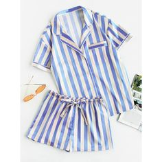 SheIn(sheinside) Piping Detail Pocket Front Shirt And Shorts Pajama... ($31) ❤ liked on Polyvore featuring intimates, sleepwear, pajamas, blue, striped pajama set, short sleeve pajama set, short sleeve pajamas, blue striped pajamas and striped pjs