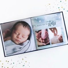 """🌙✨Oh my stars! Our """"Little Dreamer"""" photo book theme is the cutest thing on this planet! Shop this theme and more via link in our bio.    #Regram via @mixbook"""