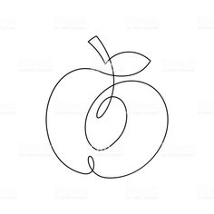 One line peach design. Apple Tattoo, Peach Tattoo, Illustration Inspiration, Line Illustration, Single Line Drawing, Line Artwork, Art Drawings For Kids, Graphic Design Trends, Line Tattoos
