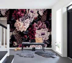 Dark Floral Wallpaper Removable Peel and Stick Self Adhesive Watercolor Large Flowers Wall Mural Decor for Bedroom Living Room Floral Pattern Wallpaper, Flower Wallpaper, Wall Wallpaper, Funky Wallpaper, Peel N Stick Wallpaper, Art Sur Toile, Tumblr Room Decor, Bedroom Themes, Bedroom Ideas