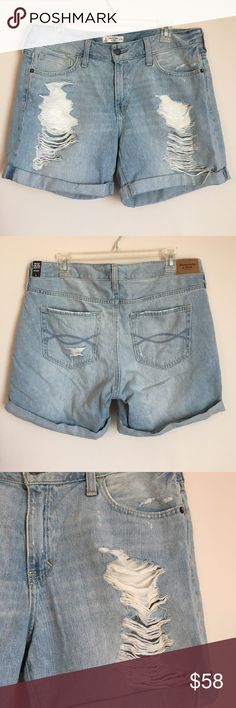 Abercrombie and Fitch Boyfriend Short Soft denim distressed long short. Can be cuffed more for shorter length Abercrombie & Fitch Shorts Jean Shorts