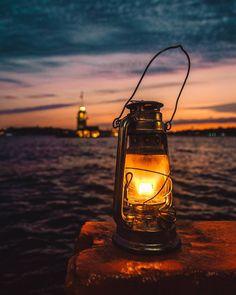 Lamp & Maiden's Tower by Ömer Yeşilırmak. #turkey #türkiye #istanbul #kizkulesi #kızkulesi #maidenstower #maidentower #tower #sky #sea #water #travel #clouds #seascape #bosphorus #lamp #lantern #fener #night